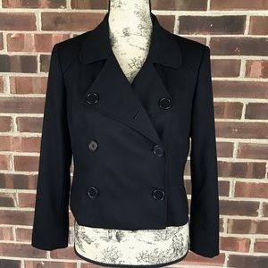 Talbots black double breasted wool cropped jacket